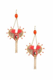 Satellite Paris |  Leather earrings Kuzco | gold  | Picture 1