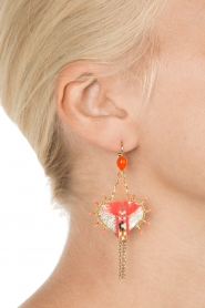 Satellite Paris |  Leather earrings Kuzco | gold  | Picture 3