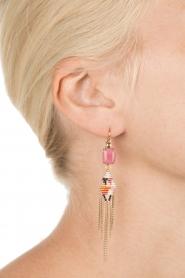 Satellite Paris | 14k verguld gouden oorbellen Sofia | roze  | Afbeelding 3