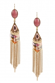 Satellite Paris | 14k verguld gouden oorbellen met kettingen | roze  | Afbeelding 1