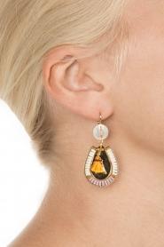 Satellite Paris | 14k verguld gouden oorbellen | paars  | Afbeelding 3