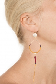 Satellite Paris |  14k gilded golden earring | purple   | Picture 4
