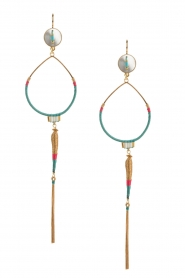 Satellite Paris |  14k gilded golden earring | turquoise  | Picture 2