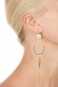 Satellite Paris |  14k gilded golden earring | turquoise  | Picture 3