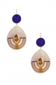 Satellite Paris |  14k gilded metal golden earrings | royal blue  | Picture 2