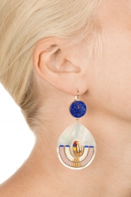 Satellite Paris |  14k gilded metal golden earrings | royal blue  | Picture 3
