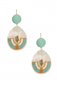 Satellite Paris | 14k golden earrings | turquoise  | Afbeelding 1