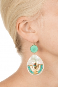 Satellite Paris | 14k golden earrings | turquoise  | Afbeelding 3