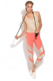 ELISABETTA FRANCHI | Luxe sportlegging Star | goud/neonroze  | Afbeelding 3