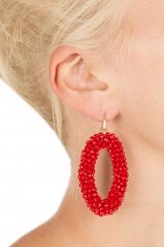 Miccy's | Oorbellen Crystal Ovals | rood  | Afbeelding 3