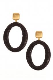 Miccy's | Oorbellen Stingray Hoops | zwart  | Afbeelding 1