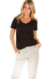 American Vintage | Ronde hals T-shirt Jacksonville | zwart  | Afbeelding 2