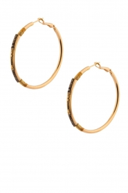 Satellite Paris | 14k verguld gouden oorbellen Verena | zwart  | Afbeelding 1