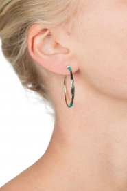 Satellite Paris |  14k gilded gold earrings Gloria | Blue  | Picture 3