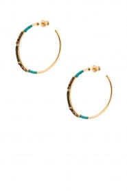 Satellite Paris |  14k gilded gold earrings Gloria | Blue  | Picture 2