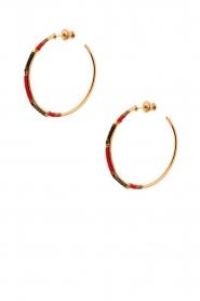 Satellite Paris | 14k verguld gouden oorbellen Gloria | Rood  | Afbeelding 2