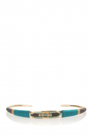 Satellite Paris |  14k gilded metal bracelet Tanarive | blue  | Picture 1