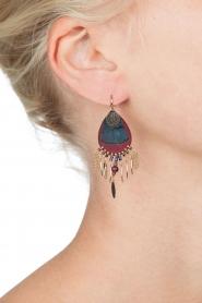 Satellite Paris |  14k gilded gold earrings Aldis | bordeaux  | Picture 3
