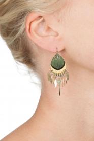 Satellite Paris | 14k verguld gouden oorbellen Aldis | groen  | Afbeelding 3
