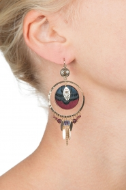 Satellite Paris |  14k gilded gold earrings Theresia | bordeaux  | Picture 3