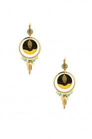 Satellite Paris |  14kt gilded gold earrings Theresia | green  | Picture 2