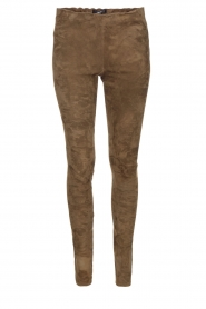 Arma |  Lamb leather suede stretch leggings Roche | green