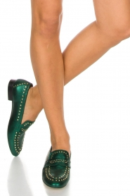 Toral   Loafers met gouden studs Alisa   groen    Afbeelding 2