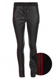Aaiko | Faux leren broek Sosa | zwart en rood  | Afbeelding 1