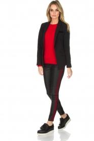 Aaiko | Faux leren broek Sosa | zwart en rood  | Afbeelding 3