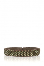 Leather bracelet with beads Checker | green