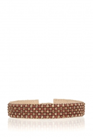 Tembi |  Leather bracelet with beads | bordeaux  | Picture 1