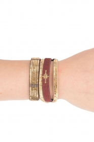Tembi | Leren armband Diamond Center (M) | bordeaux  | Afbeelding 2