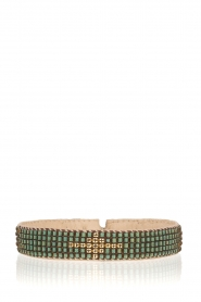 Tembi |  Leather bracelet with beads Diamond Center | green  | Picture 1