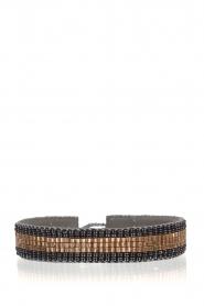 Tembi | Leren armband met kralen Bamboo Border | blauw  | Afbeelding 1