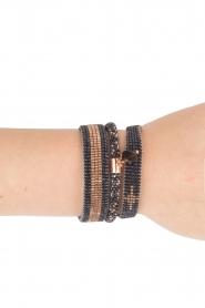Tembi | Leren armband met kralen Bamboo Border | blauw  | Afbeelding 2