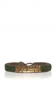 Tembi | Leren armband met kralen Mini Block | groen  | Afbeelding 1