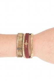 Tembi | Leren armband met kralen Mesh | goud  | Afbeelding 2
