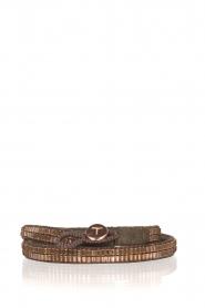 Tembi | Leren armband met kralen Wrap Bamboo | rosegoud  | Afbeelding 1