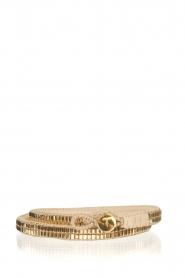 Tembi | Leren armband met kralen Wrap Bamboo | goud  | Afbeelding 1
