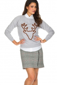 French Disorder | Luxe sweater Rudolph | lichtgrijs  | Afbeelding 4