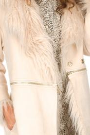 ELISABETTA FRANCHI | Tweezijdige faux fur jas Franca | Naturel  | Afbeelding 5