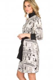 ELISABETTA FRANCHI | Jurk met getekende print Velia | Zwart wit  | Afbeelding 4