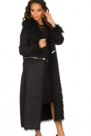 ELISABETTA FRANCHI | Tweezijdige faux fur jas Franca | Zwart  | Afbeelding 5