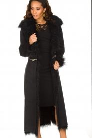 ELISABETTA FRANCHI | Tweezijdige faux fur jas Franca | Zwart  | Afbeelding 4