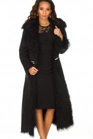 ELISABETTA FRANCHI | Tweezijdige faux fur jas Franca | Zwart  | Afbeelding 2