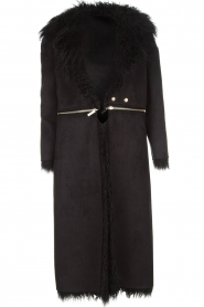 ELISABETTA FRANCHI | Tweezijdige faux fur jas Franca | Zwart  | Afbeelding 1