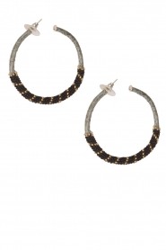 Tembi |  Earrings with beads Snake | black  | Picture 1