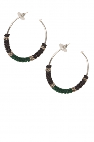 Tembi |  Earrings with beads Beaded Large | green  | Picture 2