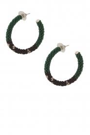 Tembi | Oorbellen van kralen Beaded Small | groen  | Afbeelding 1