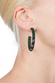 Tembi | Oorbellen van kralen Beaded Small | groen  | Afbeelding 3